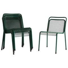 Set of Five Green Metal Mesh Chairs