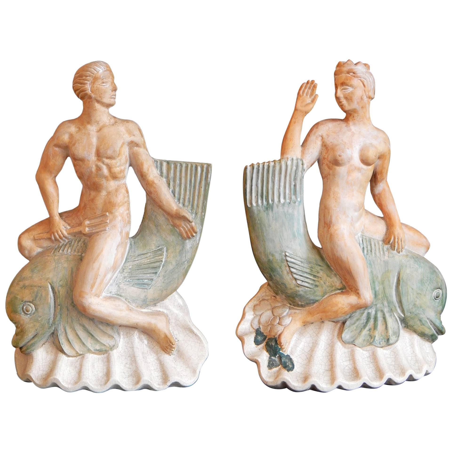 """Neptune & Salacia Riding Dolphins,"" Unique Art Deco Sculptures or Lamp Bases"