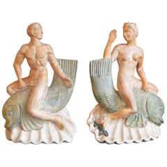 """Neptune & Salacia Riding Dolphins,"" Unique Art Deco Sculptures or Lamp Bases"