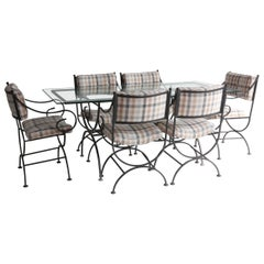 Vintage Black Metal Garden Table with Six Chairs Newly Upholstered in Plaid