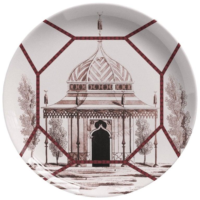 Toptaki Red Porcelain Dinner Plate by Vito Nesta for Les Ottomans, Italy 1