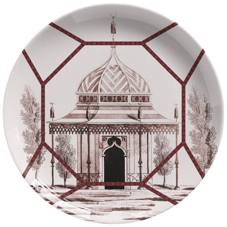 Toptaki Red Porcelain Dinner Plate by Vito Nesta for Les Ottomans, Italy For Sale