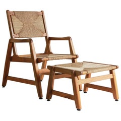 Danish Wood Framed Chair and Ottoman with Woven Rush Details