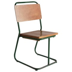 Prouve Style Green Painted Metal Chair with Wood Seat and Back