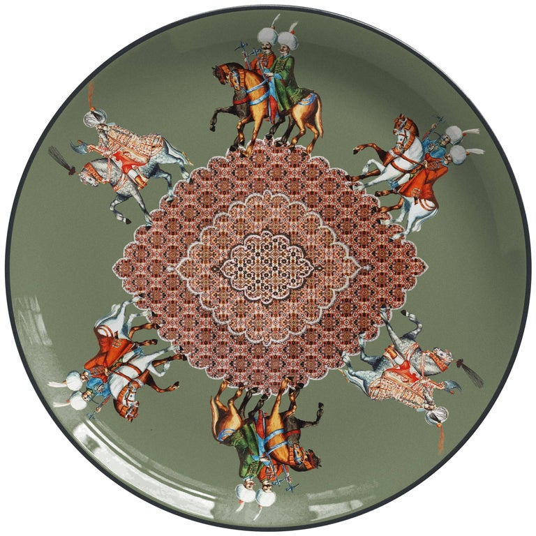 Cavalieri Porcelain Dinner Plate by Vito Nesta for Les Ottomans, Made in Italy