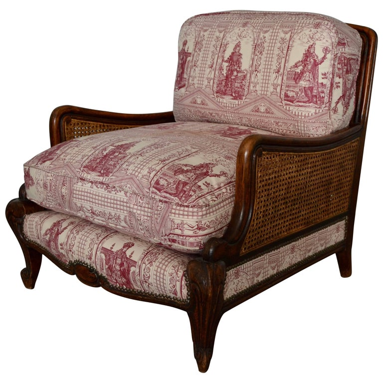 Wood and Wicker French Armchair, 1900 For Sale