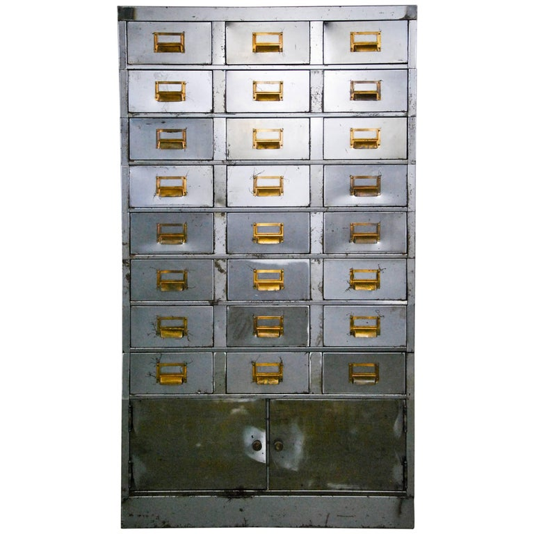 1920 Multi-Drawer Apothecary-Style Industrial Cabinet For Sale