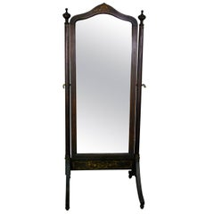 Early 20th Century Edwardian Inlayed  Mahogany Cheval Mirror