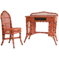 Orange and Black Painted Wicker Desk and Side Chair Set
