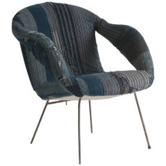 Mid-Century Style Armchair Upholstered in Indigo African Fabric