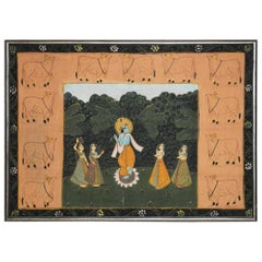 Pichhwai Hindu Painting of Krishna on Silk with Sacred Cows