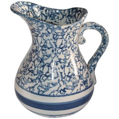 Monumental 19th Century Sponge Ware Pottery Pitcher