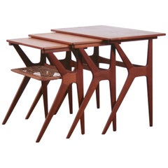 Vintage Danish Teak and Cane Nesting Tables