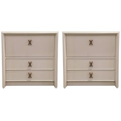 Pair of White Lacquer Nightstands by Paul Frankl