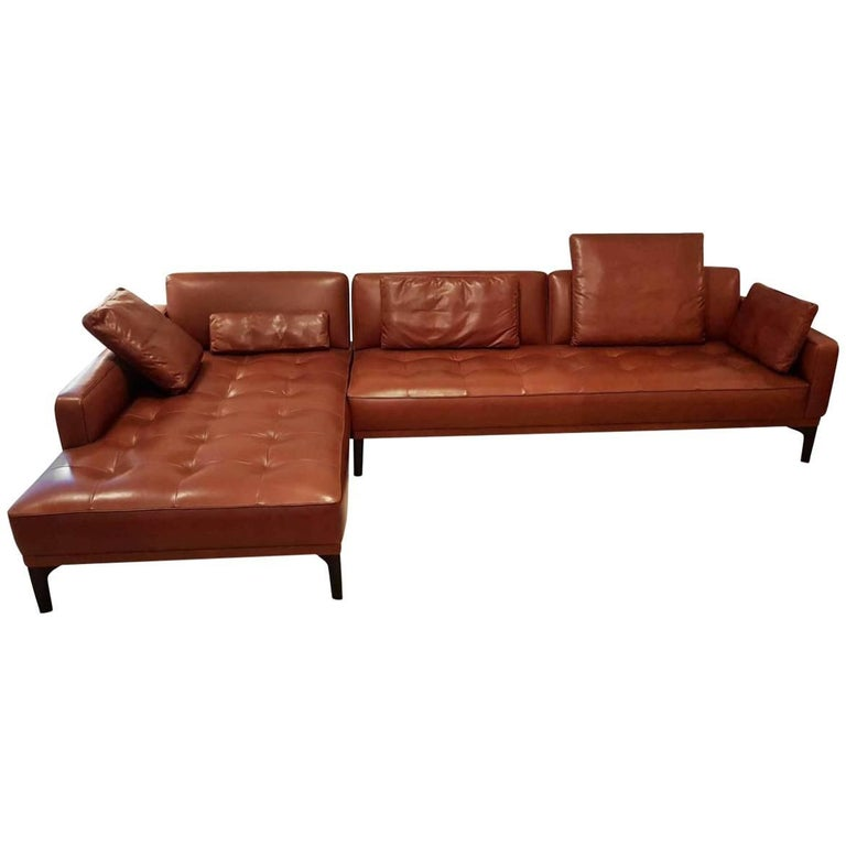 "Sofa ""Joyce"" Ba Manufacturer Wittmann in Massive Wood and 100% Genuine Leather"