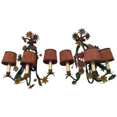 Late 19th Century Pair of French Metal Flowers Wall Lights