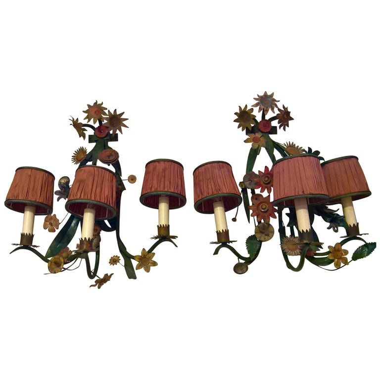 scrolled flowers late 19th century pair of french metal flowers wall lights for