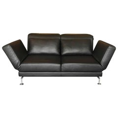 blue leather chrome sofa at 1stdibs. Black Bedroom Furniture Sets. Home Design Ideas
