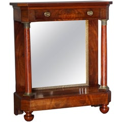 Late 19th Century Mahogany & Bronze Dutch Biedermeier Console Table with Mirror