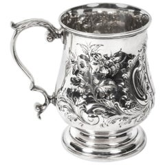 19th Century Victorian Silver Plated Embossed and Engraved Mug