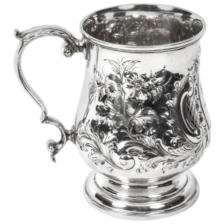 19th Century Victorian Silver Plated Embossed and Engraved Mug For Sale