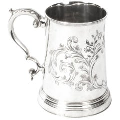 Antique Victorian Silver Plated and Engraved Mug, circa 1870
