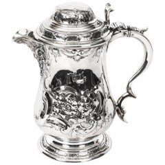 Antique English Silver Plate Ewer Lipped Tankard, circa 1860 Martin Hall