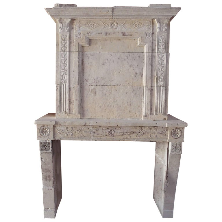 18th Century Louis XVI Fireplace with Trumeau Hand-Sculpted in French Limestone
