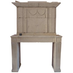 18th Century Louis XVI Fireplace with Trumeau Hand-Sculpted in Stone, France
