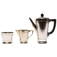 Three-Piece Silver 1930s Mappin & Webb Coffee Set by Keith Murray