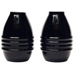 Elegant Pair of Black Opaline Vases Attributed to Jacques Adnet