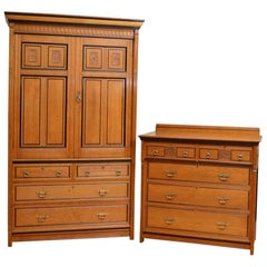 Aesthetic Movement Oak Bedroom Set by Lamb of Manchester