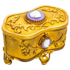 19th Century French Gilt Bronze Jewelry Casket with Cameos