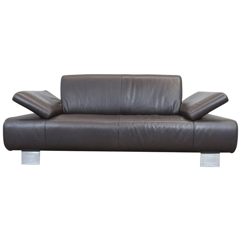 willi schillig designer sofa brown mocca leather three seat function modern at 1stdibs. Black Bedroom Furniture Sets. Home Design Ideas