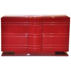 Red Art Deco Chromeliner Buffet