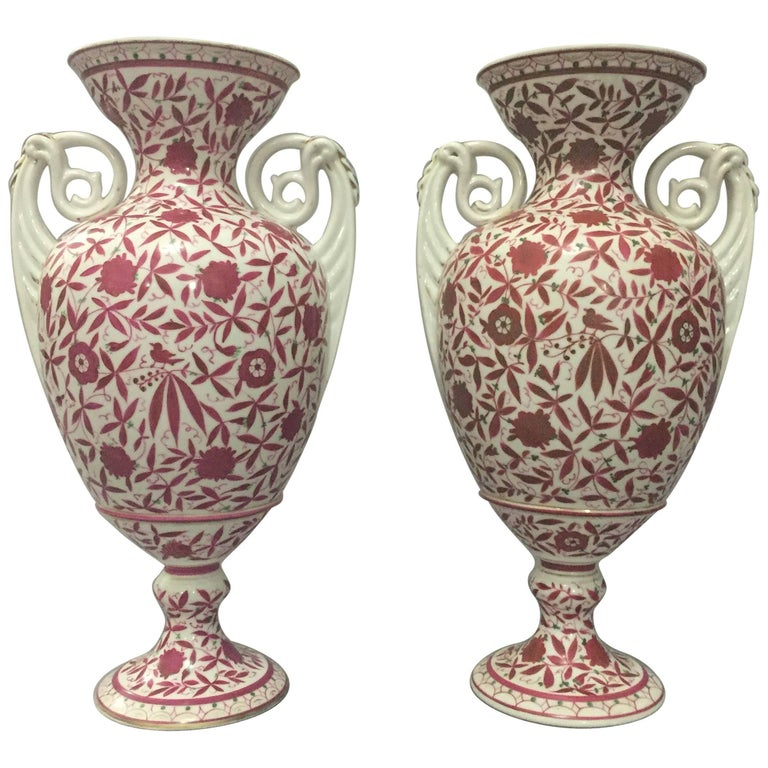 Pair Of Bohemian Porcelain Amphoras With Gilt Rosewood Floral And