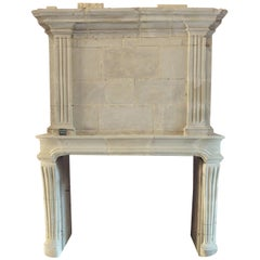 18th Century Louis XV Fireplace with Trumeau Hand-Sculpted in French Limestone