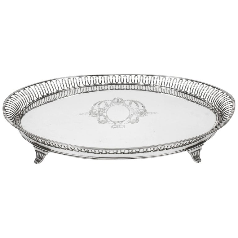 19th Century Victorian Oval Silver Plated Tray by Elkington