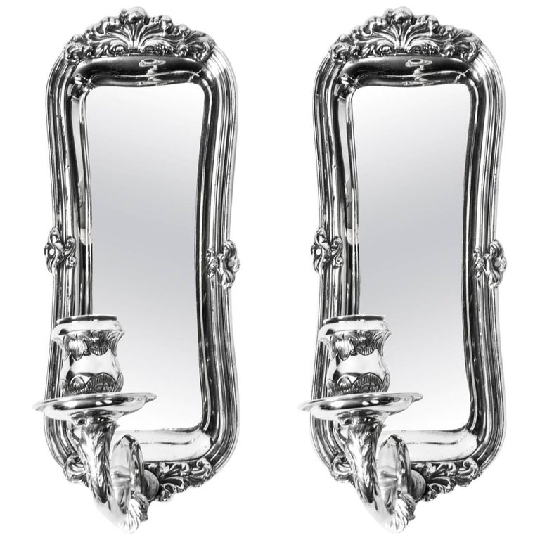 19th Century Pair of Silver Plated Sconces Wall Lights
