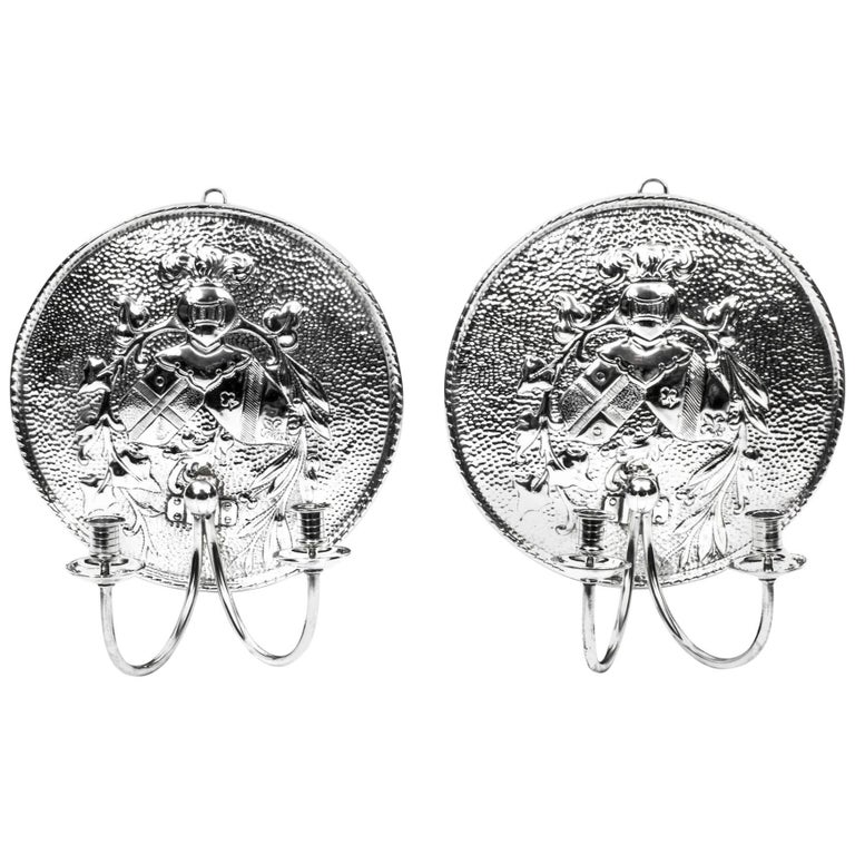 Early 20th Century Pair of Silver Plated Brass Sconces Wall Lights