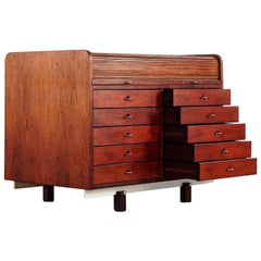Gianfranco Frattini Desk with Roll Top in Rosewood circa 1962 for Bernini, Italy