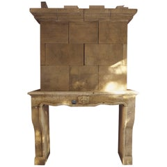 18th Century Louis XV Stone Fireplace with Trumeau and Sculpted Fleur-de-Lis