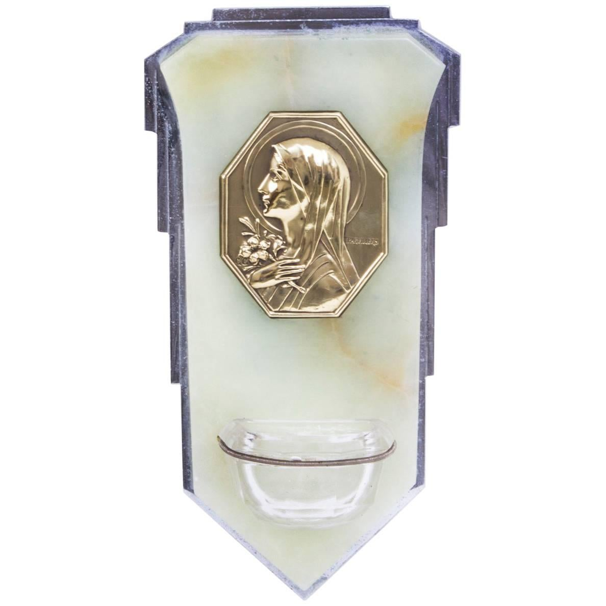 1920s Art Deco Onyx & Glass Holy Water Font Stoop