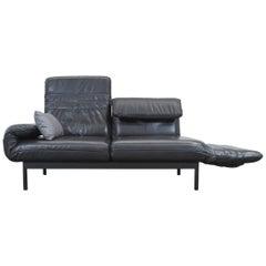 Rolf Benz Plura Designer Leather Sofa Black Function Modern