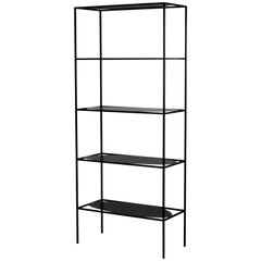 Contemporary Sculptural Black Steel Etagere Bookcase Storage Shelf USA, In Stock