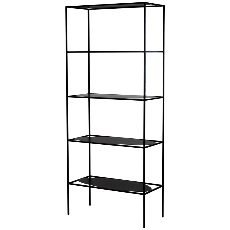 The contemporary modern Black Steel Ahn etagere is a study in positive and negative space. With its five different asymmetrical and organic surfaces, Ahn is a minimal sculpture in its own right, playing with balance and tension between the shelves