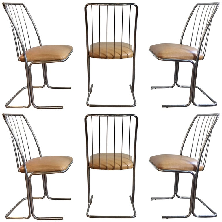 Mid-Century Modern Cantilevered Dining Chairs by Daystrom, Set of Six