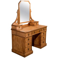 Oak Gothic Dressing Table Vanity Chest Quality English Victorian, circa 1880