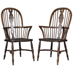 Pair of Elm Windsor Chairs