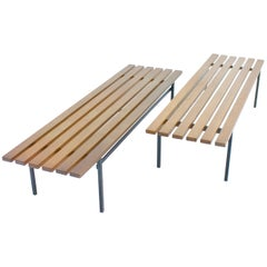 Set of Two Teak Wood and Metal Slat Benches from the 1960s